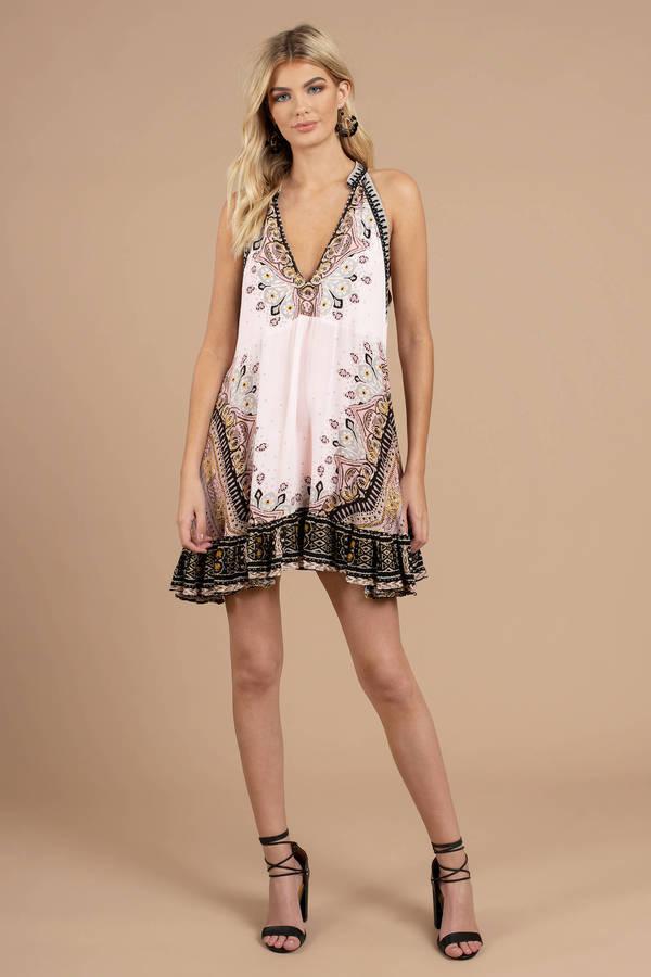 Pink Free People Dress - Day Dress - Pink Boho Dress - Halter Dress ...