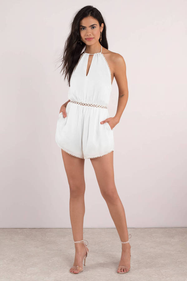 a3f76216a6 White The Jetset Diaries Romper - Embellished Romper - White Romper ...
