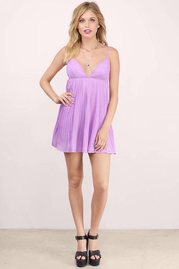 Cute Lavender Skater Dress - Purple Dress - Pleated Dress - $10.00
