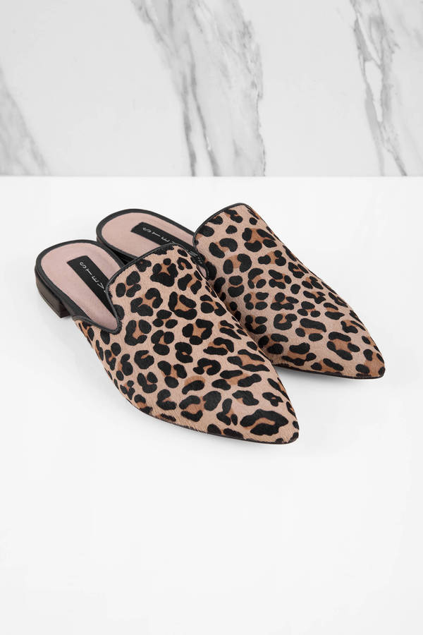 e8d8d2029ad Tan Steve Madden Flats - Leopard Print Flats - Tan Flat Mules -  116 ...