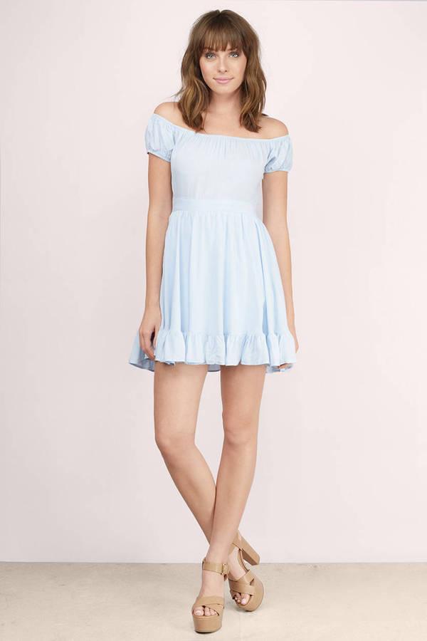 Cute Cream Skater Dress Off Shoulder Dress Skater