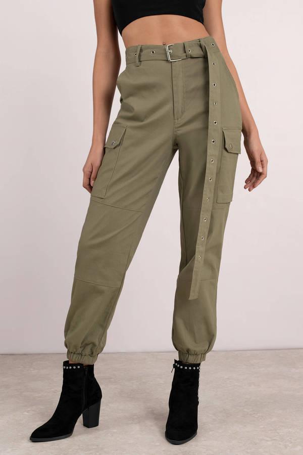 Private Kelly Light Olive Belted Cargo Pants 72 Tobi Us