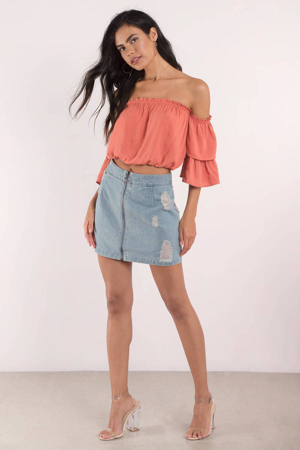 Denim Skirt - Denim Skirts Mini - Jean Mini Skirt - Light Wash ...