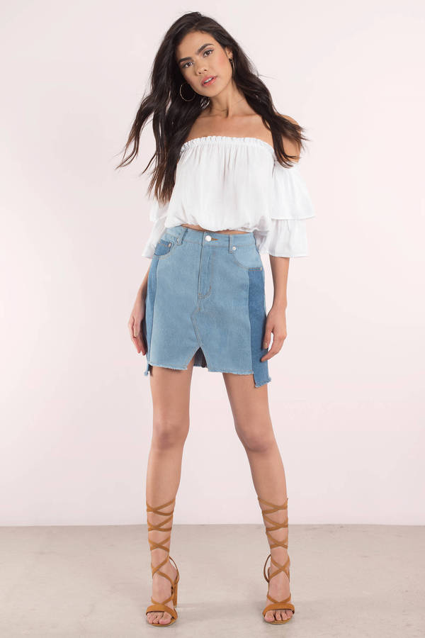Spliced Denim - Blue Denim - Denim Skirt - Light Wash Denim - $66