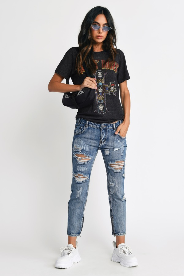 Trendy Marina Denim Jeans - Distressed Jeans - $14.00