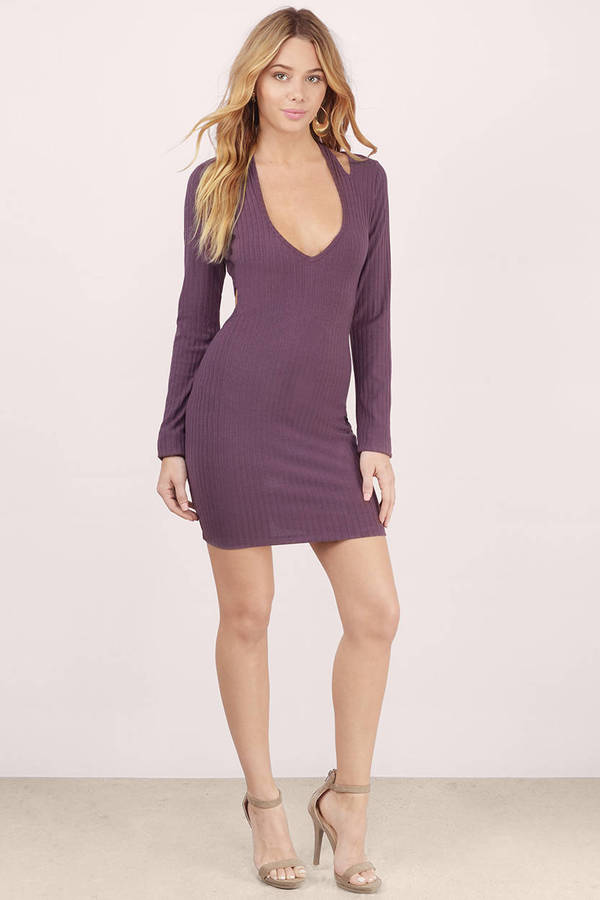 Sexy Mauve Bodycon Dress Strappy Dress Bodycon Dress