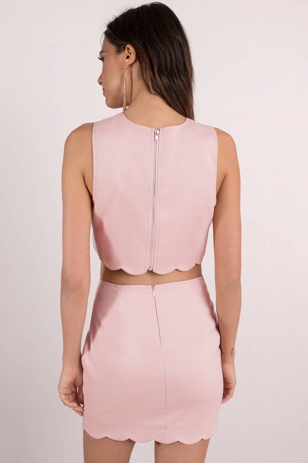 7fc9a2e9f5f Trendy Pink Bodycon Dress Set - Going Out Set - Pink Two Piece Dress ...