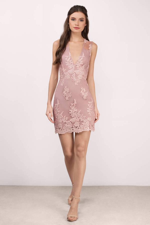 Mauve Dress Deep V Dress Pretty Pink Dress Bodycon Dress 35