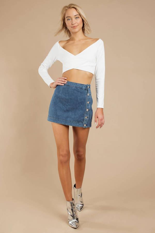 f69f71fd69 Blue A Line Denim Skirt - Stretch Denim Skirt - Blue Button Up Skirt ...