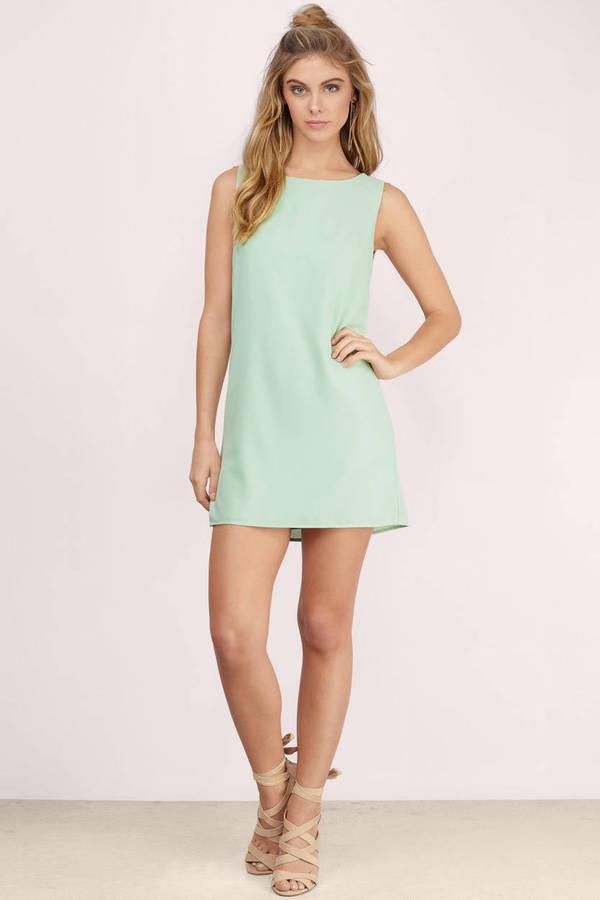 Mint Shift Dress - Green Dress - U Neck Dress - $9.00