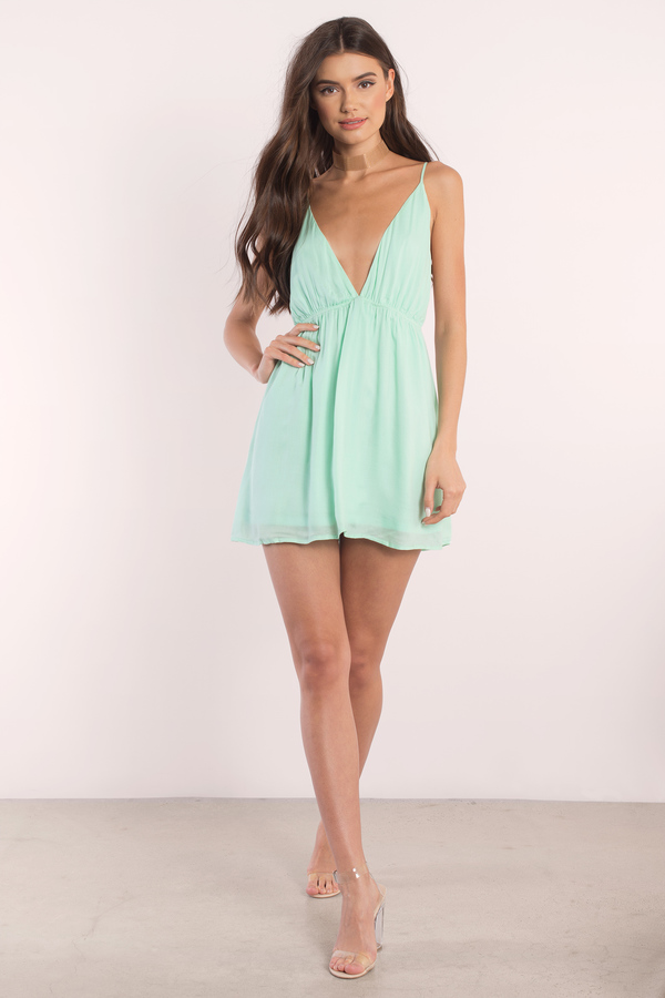 Sexy Mint Green Dress Plunging Dress Cami Dress