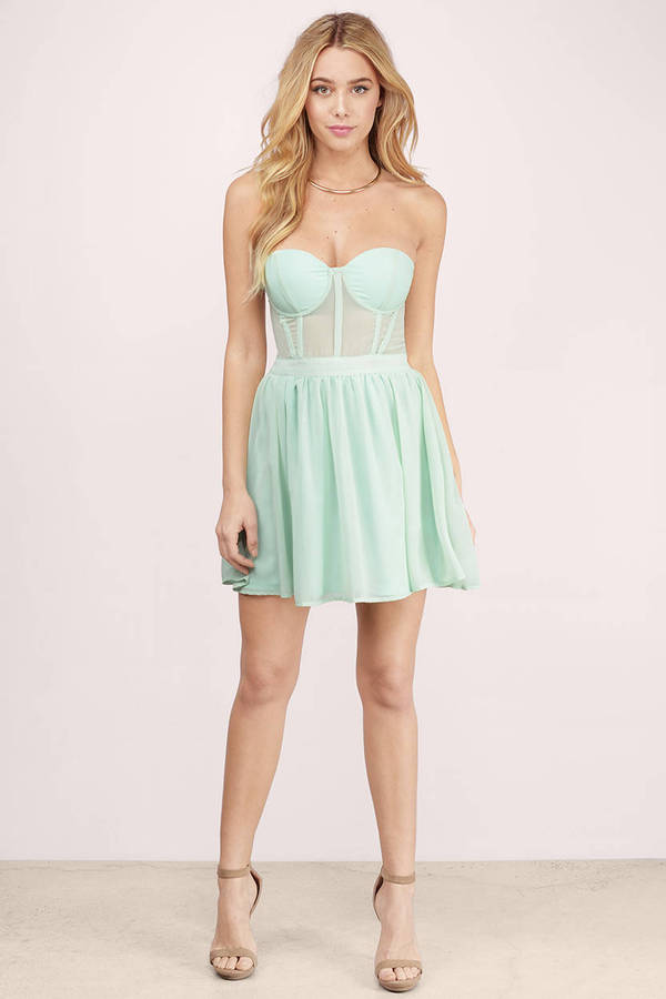 Mint Skater Dress - Mint Dress - Sweetheart Dress - Mint ...