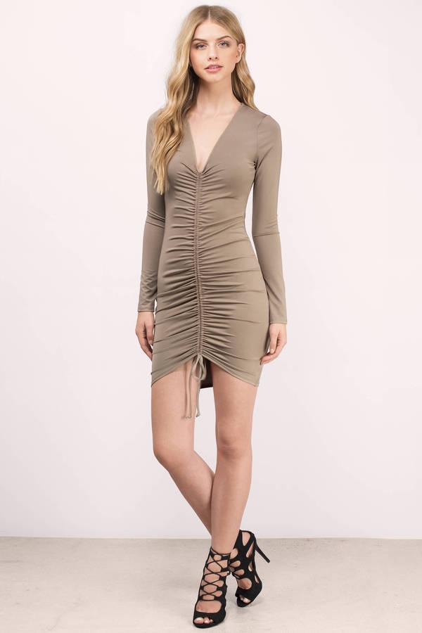fb3deba225 Sexy Mocha Bodycon Dress - Brown Dress - Ruched Dress - Bodycon ...