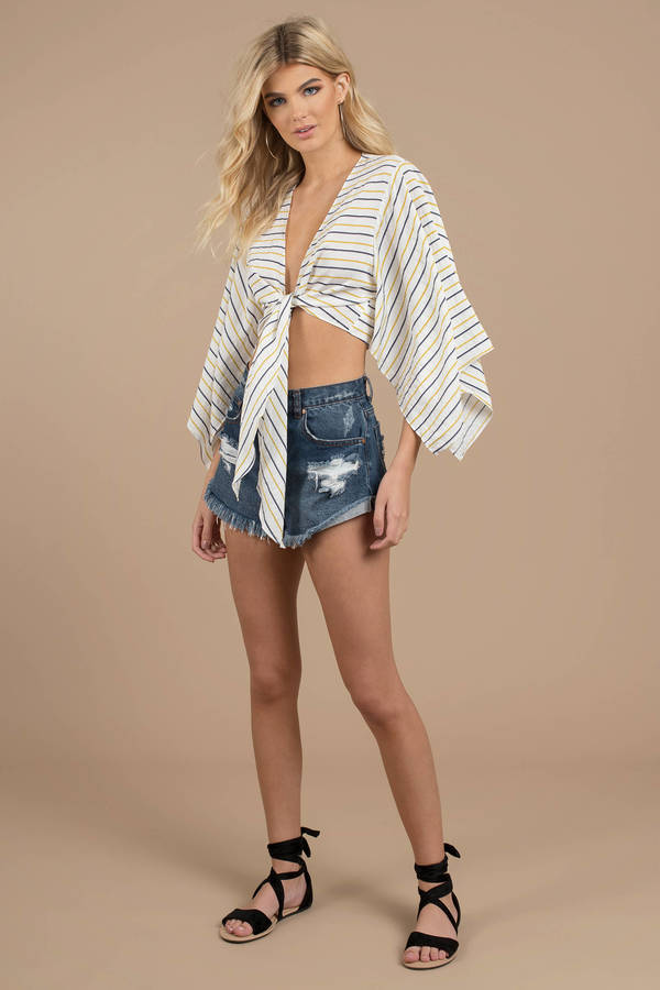 4e7503d468736 White Lost In Lunar Crop Top - Front Knot Wrap Top - White Striped ...
