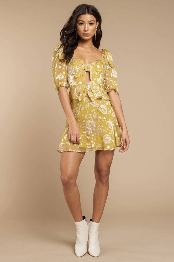 0734228cdb0e ... For Love and Lemons For Love And Lemons Cosmo Mustard Mini Dress