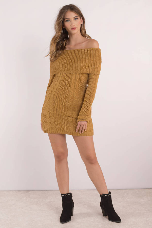 Natasha Mustard Off Shoulder Sweater Dress - $58 | Tobi US