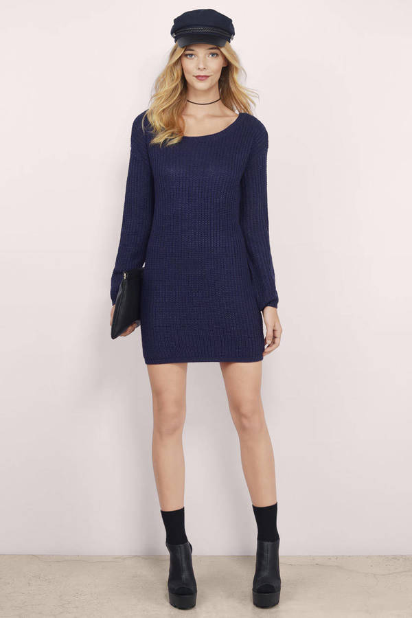 Cute Navy Day Dress - Blue Dress - Ribbed Dress - Day Dress - $19 ...