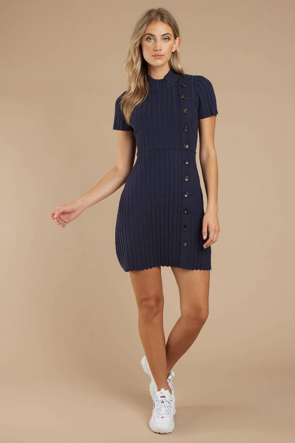 72e342b2b6869 Navy Blue Free People Dress - Button Up Dress - Navy Blue Ribbed ...