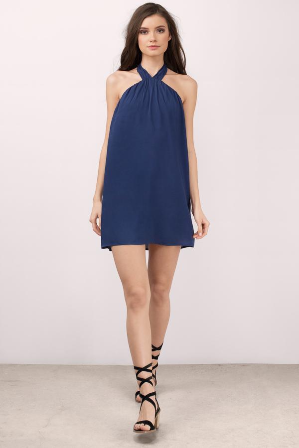 Trendy Navy Shift Dress - Blue Dress - Halter Dress - $12.00