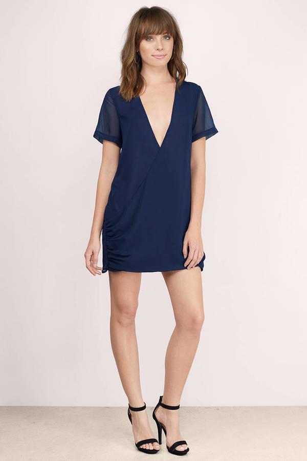 Sexy Navy Shift Dress - Blue Dress - Draped Dress - $24.00