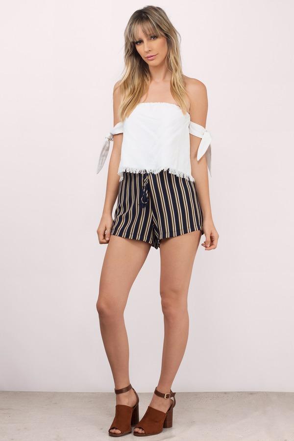 Trendy Navy Multi Shorts - High Waisted Shorts - Navy Multi Shorts ...