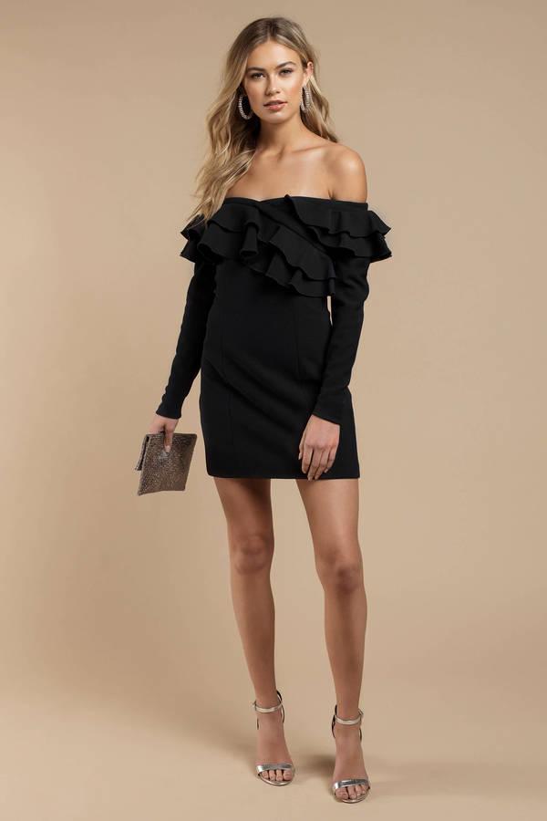 7915592711 Navy Finders Keepers Dress - Off Shoulder Dress - Navy Ruffled Dress ...
