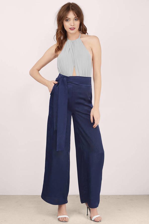 Navy Pants - Wide Leg Pants - High Waisted Navy Blue Pants