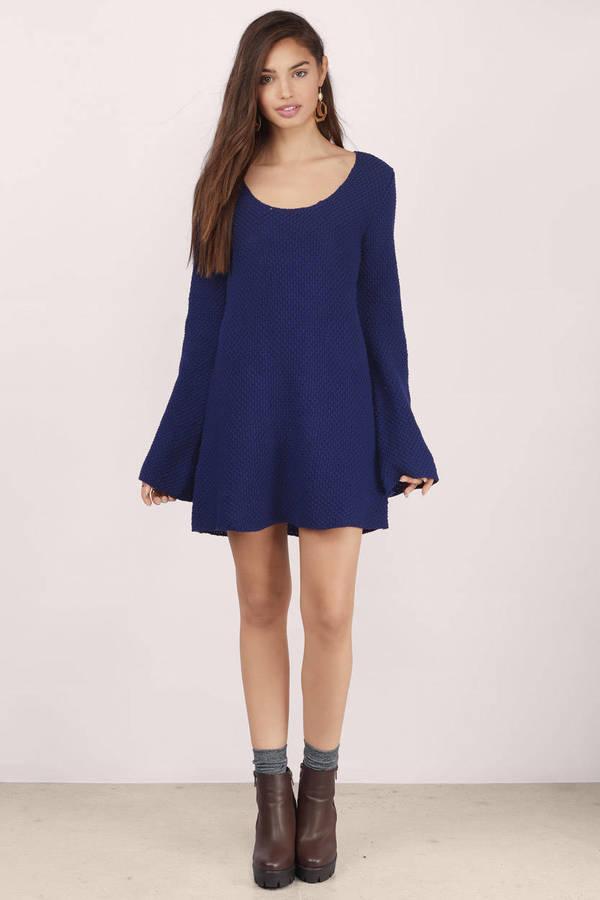 Navy Day Dress - Blue Dress - Sweater Dress - Blue Knit Dresses ... a058db016