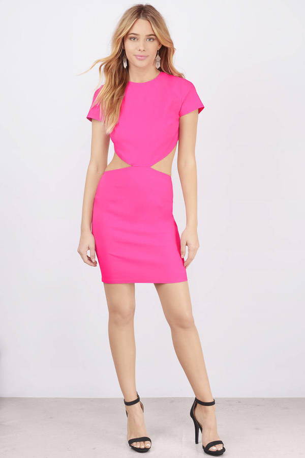 Sexy Neon Pink Bodycon Dress Cut Out Dress Bodycon