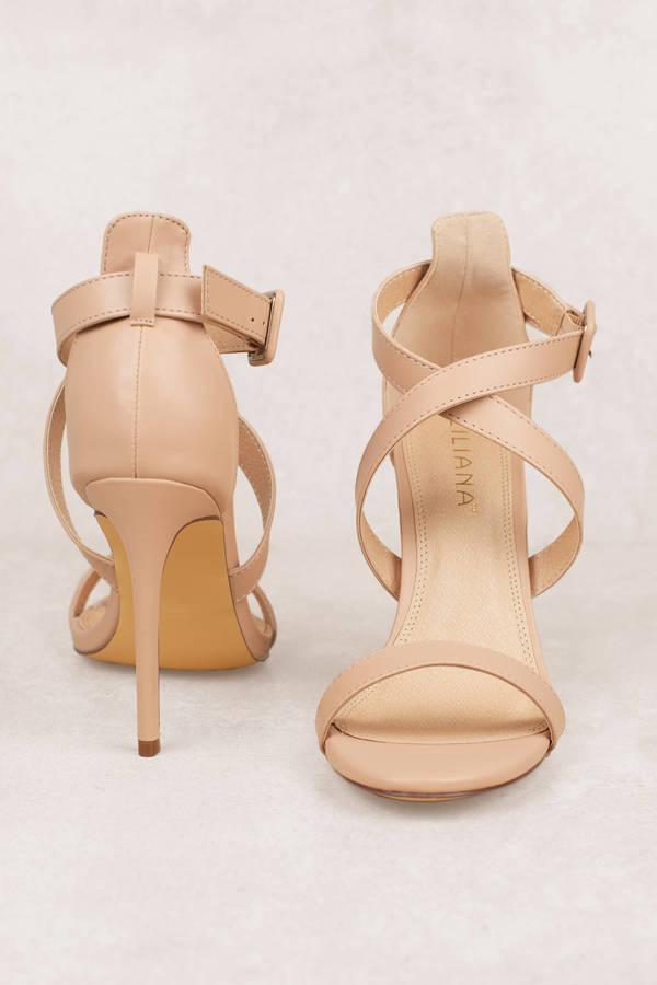 5294871c8407 Nude Heels - Strappy Heels - Nude Open Toe Heels - Sandal Heels ...