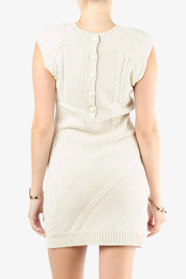 ef8b451cc5a Theory Cream Sweater Dress - Button Back Dress - Cream Cable Knit ...