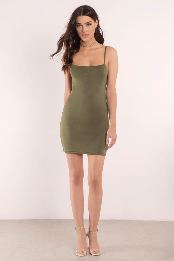 Olive Dress Mini Dress Green Dress Stretch Dress
