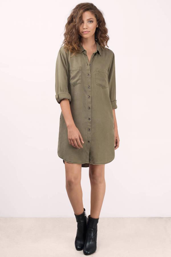 1f5909216e ... Thread   Supply Thread   Supply Better Days Olive Chambray Shirt Dress