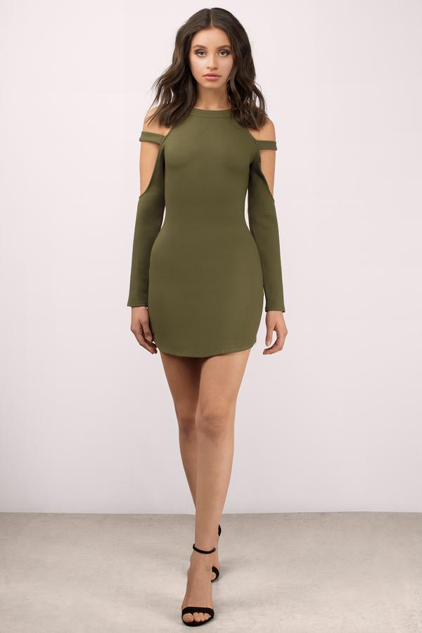 707b6354f30a1 Cute Olive Bodycon Dress - Cut Out Dress - Bodycon Dress -  14