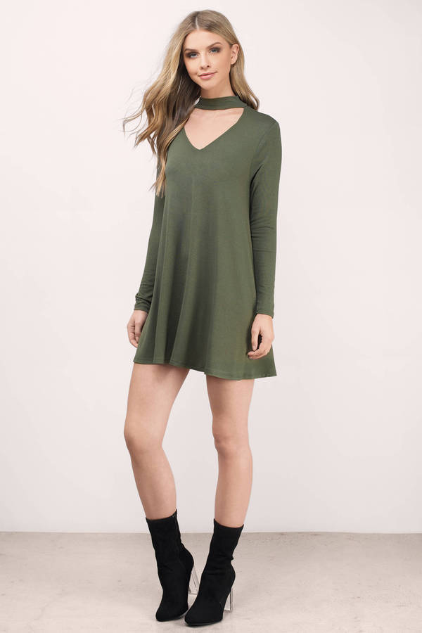 450245419d5 Olive Green Shift Dress Long Sleeve Choker Keyhole. Colsbm Emily Olive Green  Casual A Line Sabrina Elbow Length Sleeve Backless Beaded Bridesmaid Dresses