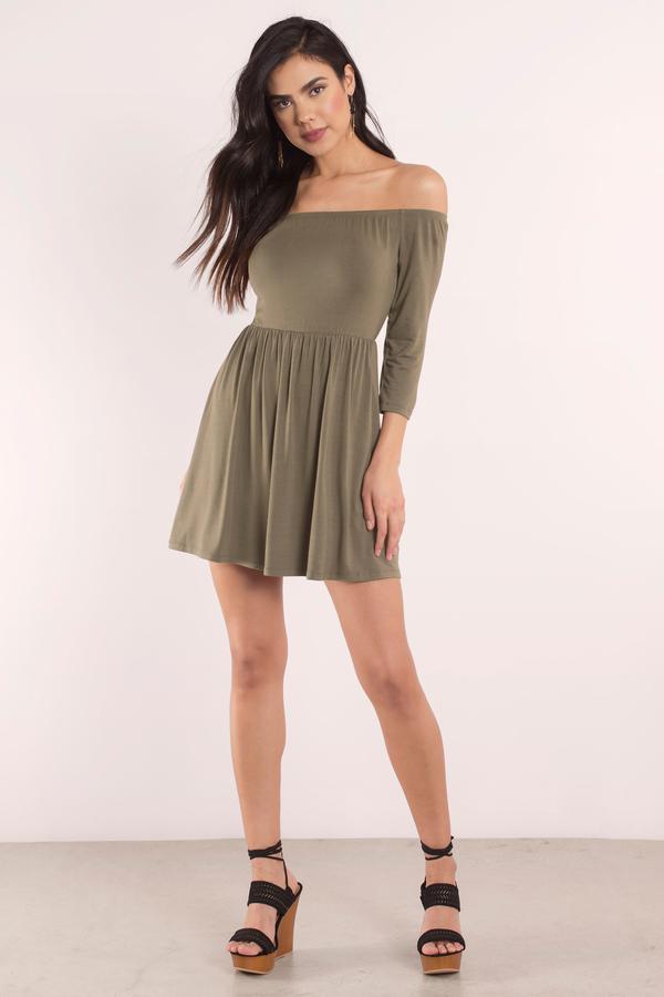 3231556b5d Pretty Olive Green Dress - Off Shoulder Dress - Skater Dress - € 15 ...