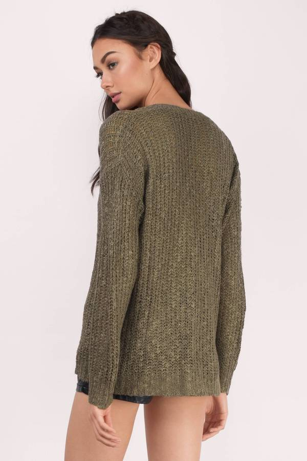 56ff664a07b Olive Sweater - Green Sweater - V Neck Sweater - Army Green Sweater ...
