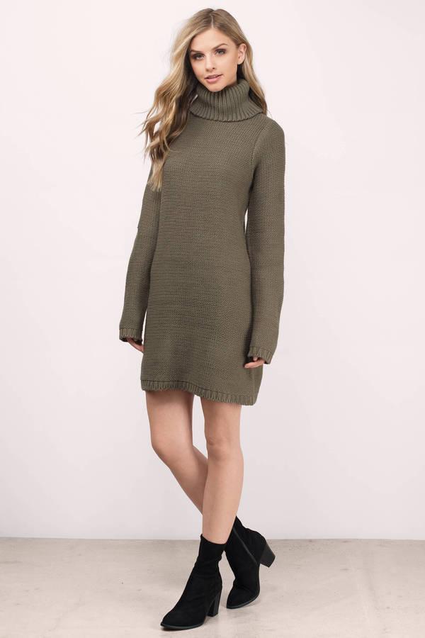 de6d1c3559 Cute Olive Dress - Turtleneck Dress - Army Green Sweater - Day Dress ...