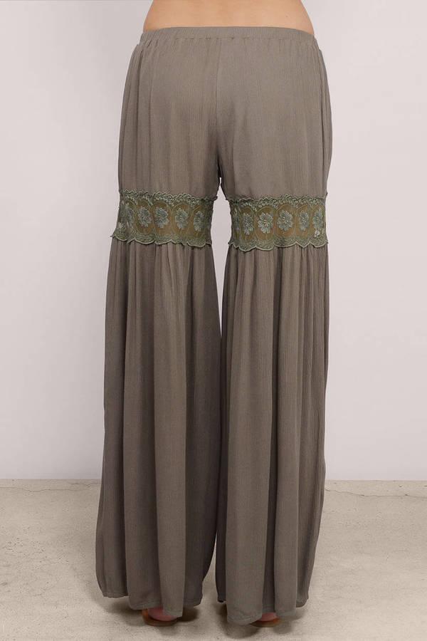 Olive Pants - Gaucho Pants - Wide Leg Pants - Lace Inset ...