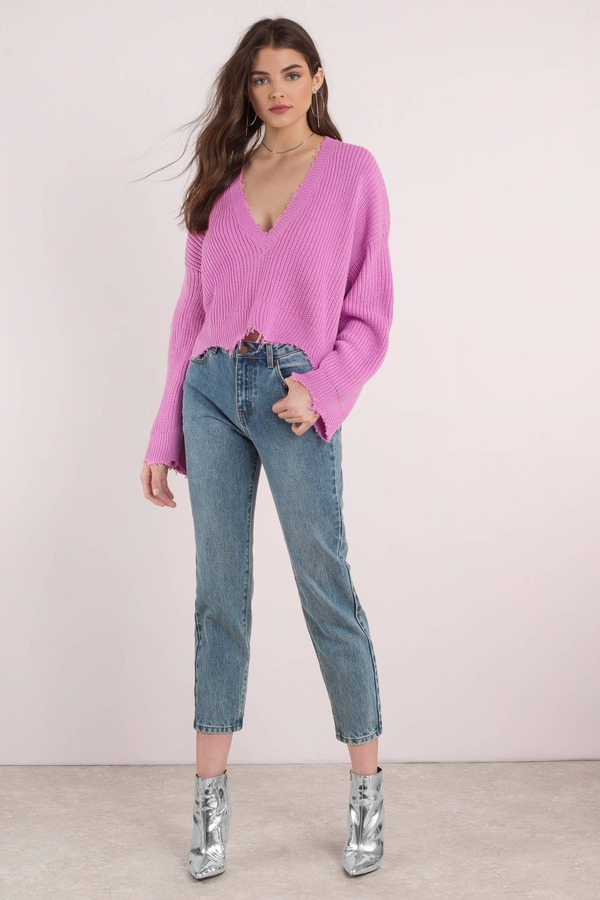 Distressed Out Pink Cropped Sweater - $32 | Tobi US