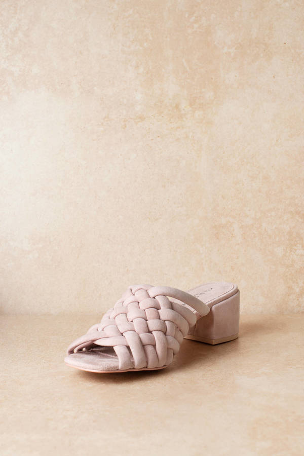 4720b9cdf89d Pink Kelsi Dagger Heels - Woven Heels - Casual Pink Heels - AU  138 ...