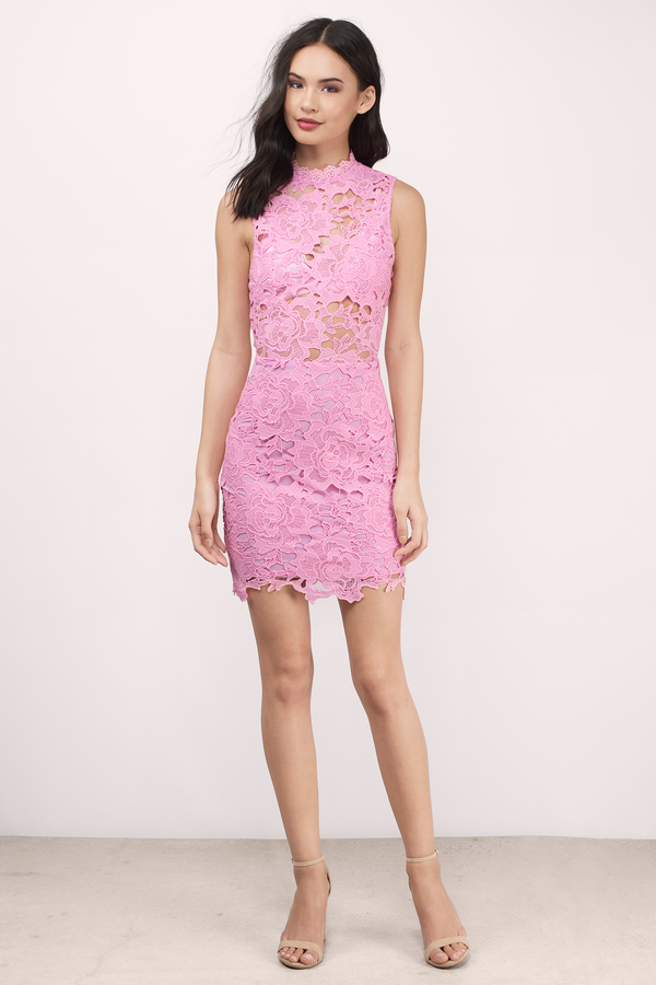 Trendy Pink Bodycon Dress - High Neck Dress - $24.00
