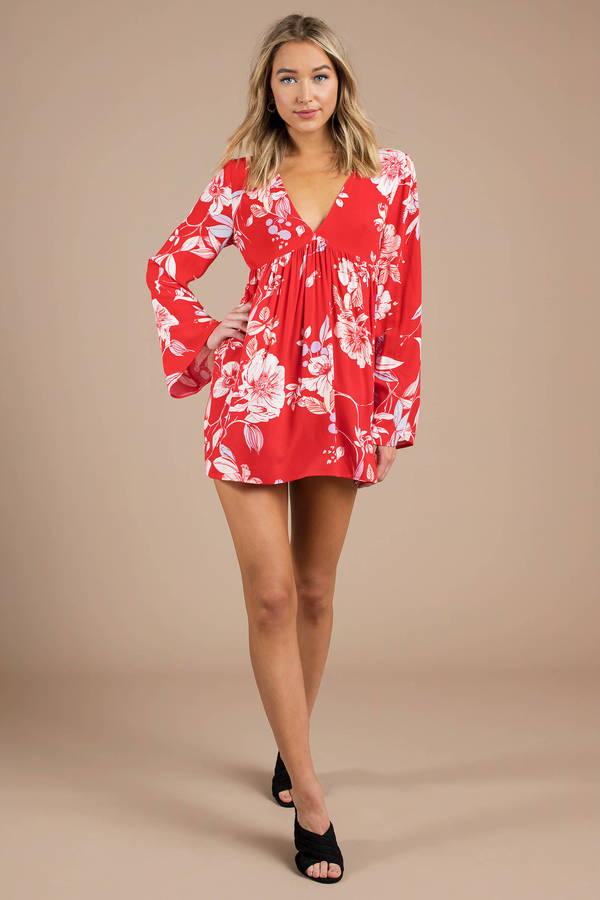 Cute Red Blouse - Tunic Top - Red Floral Printed Blouse - $64 | Tobi US