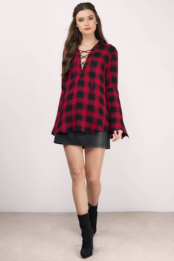 74cb6d96e953 Red & Black Shirt - Red Shirt - Oversized Shirt - Red Plaid Top - AU ...