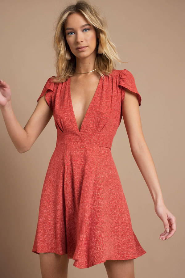 611b27bae4be Sexy Red Wrap Dress - Short Sleeve Dress - Red Polka Dot Dress - C ...