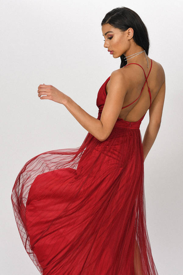 e81a1f6cb2 Red Maxi Dress - Holiday Dress - Red Gown - Tulle Gown - $38 | Tobi US