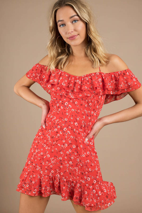 e1e9808523bc Trendy Red Casual Dress - Off Shoulder Dress - Red Floral Dress ...