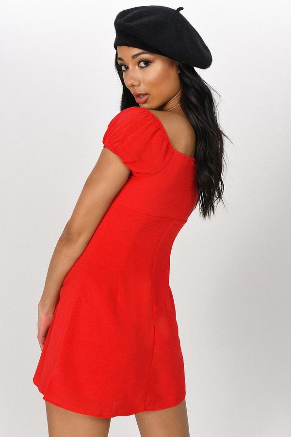 d002080867 Red Mini Dress - Surplice Dress - Red Puffy Sleeve Dress -  44