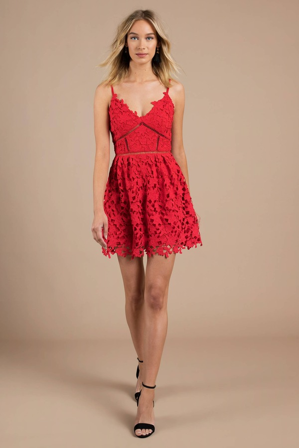 3633276383d8 Red Skater Dress - Knee Length Sundress - Red Spaghetti Strap Dress ...