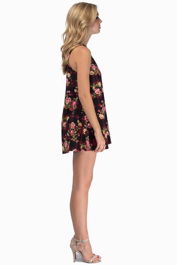 Tartanic Floral Tank Dress